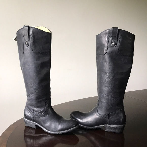 a0845d7300a Frye extended Calf 7B Black Rustic Leather Boots NWT